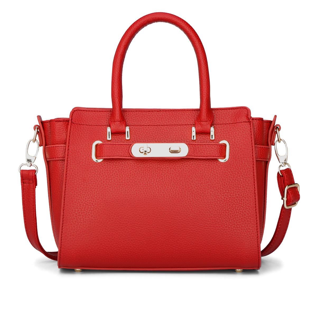 ขายส่งกระเป๋าผู้หญิงถือและสะพายข้าง แต่งเข็มขัดล๊อกคู่ แฟชั่นเกาหลี Sunny-764 สีแดงสด 1 ใบ