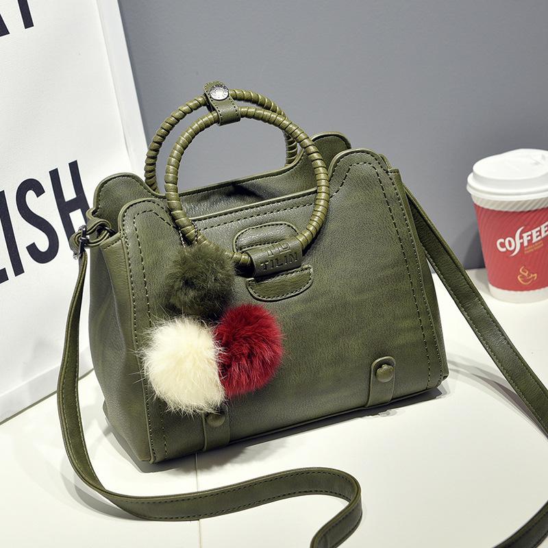 ขายส่ง กระเป๋าผู้หญิงถือหูหิ้วห่วงกลมวินเทจ สะพายข้างได้ แฟชั่นสไตล์เกาหลี รหัส KO-981 สีเขียว