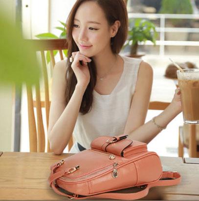 พร้อมส่ง กระเป๋าเป้สะพายหลัง และปรับสะพายข้างได้ ผู้หญิง แฟชั่นเกาหลี Sunny-612 สีชมพู 1 ใบ