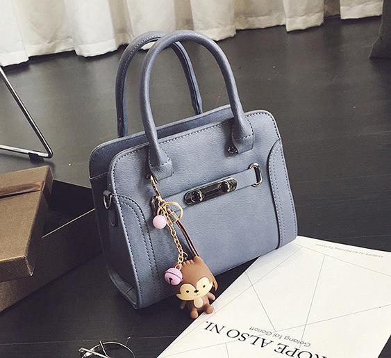 ขายส่ง กระเป๋าถือและสะพายข้างใบเล็ก ทรงกล่อง แฟชั่นเกาหลี Fashion bag รหัส G-751 สีฟ้า