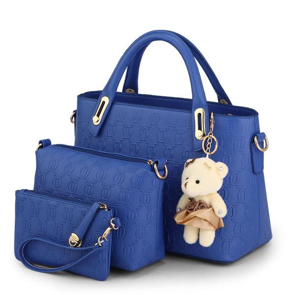 พร้อมส่ง กระเป๋าถือและสะพายข้าง เซ็ต 3 ใบ แฟชั่นเกาหลี Sunny-658 แท้ สีน้ำเงินไพลิน