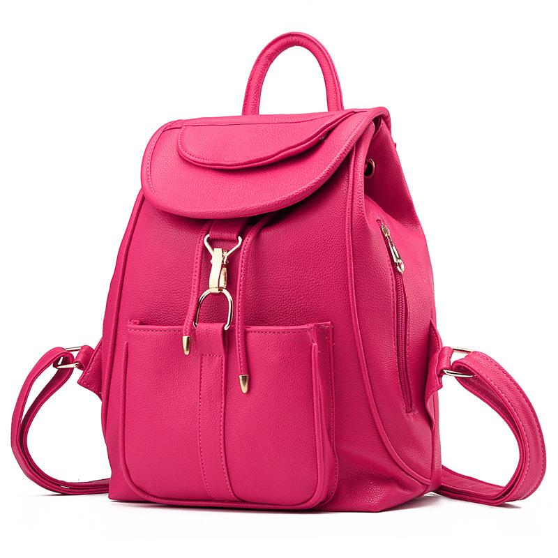 พร้อมส่ง กระเป๋าเป้สะพายหลัง เป้นักเรียน เป้สะพายเที่ยวผู้หญิงสายรูดปิดแฟชั่นเกาหลี รหัส Yi-8757 สีบานเย็น