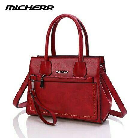 ขายส่ง กระเป๋าถือและสะพายแฟชั่นเกาหลี ปรับได้ 2 ทรง ยี่ห้อ MICHERR แท้ รหัส AL-9925 สีไวน์แดง