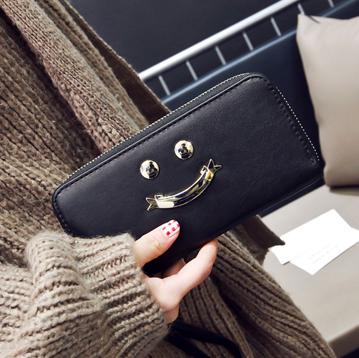 พร้อมส่ง กระเป๋าสตางค์ใบยาว คลัทซ์ผู้หญิง ซิปรอบพร้อมสายคล้องมือ แฟชั่นเกาหลี รหัส G-5343 สีดำ