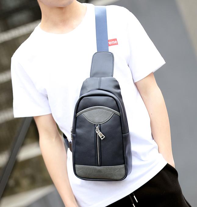พร้อมส่งขายส่ง กระเป๋าสะพายคาดไหล่ คาดอก ใส่ ipad 8 นิ้ว ผู้ชายแฟขั่นเกาหลี รหัส Man-5206 สีน้ำเงิน