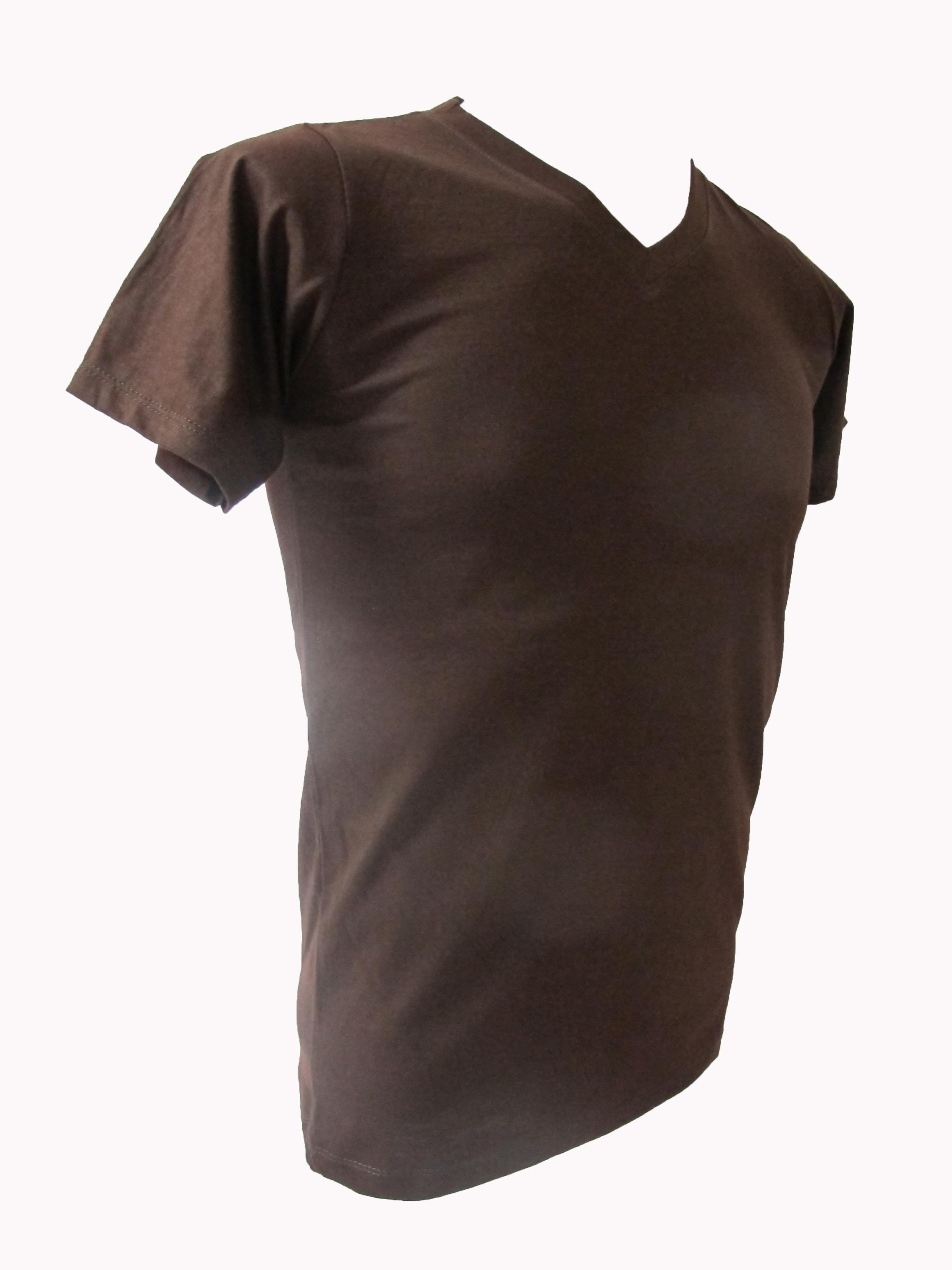 COTTON100% เบอร์32 เสื้อยืดแขนสั้น คอวี สีน้ำตาล