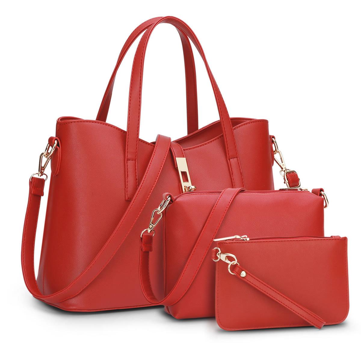 ขายส่ง กระเป๋าถือ และสะพายไหล่ สะพายข้าง เช็ต 3 ใบ แฟชั่นเกาหลี Sunny-723 สีแดง