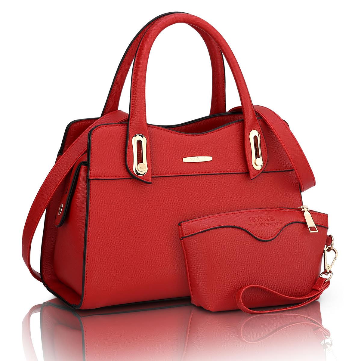 ขายส่ง กระเป๋าผู้หญิงถือและสะพายข้าง เซ็ต 2 ใบ แฟชั่นยุโรป Sunny-714 แท้ สีแดง