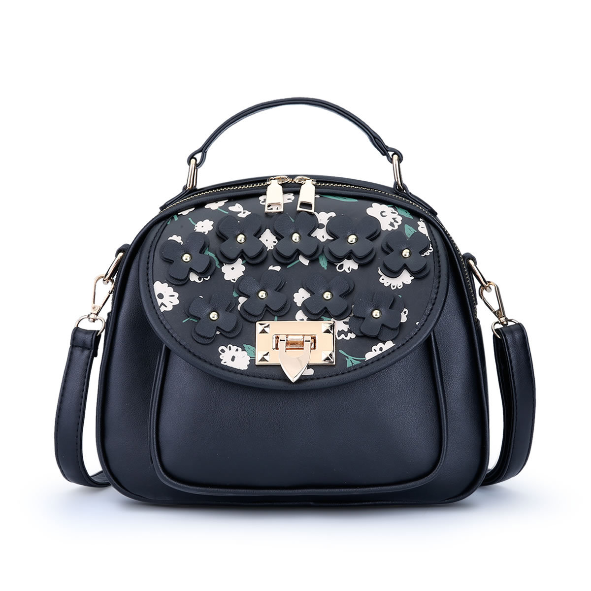 ขายส่ง กระเป๋าสะพายไหล่และกระเป๋าถือ เรียบง่าย แฟชั่นเกาหลี Sunny-915 สีดำ