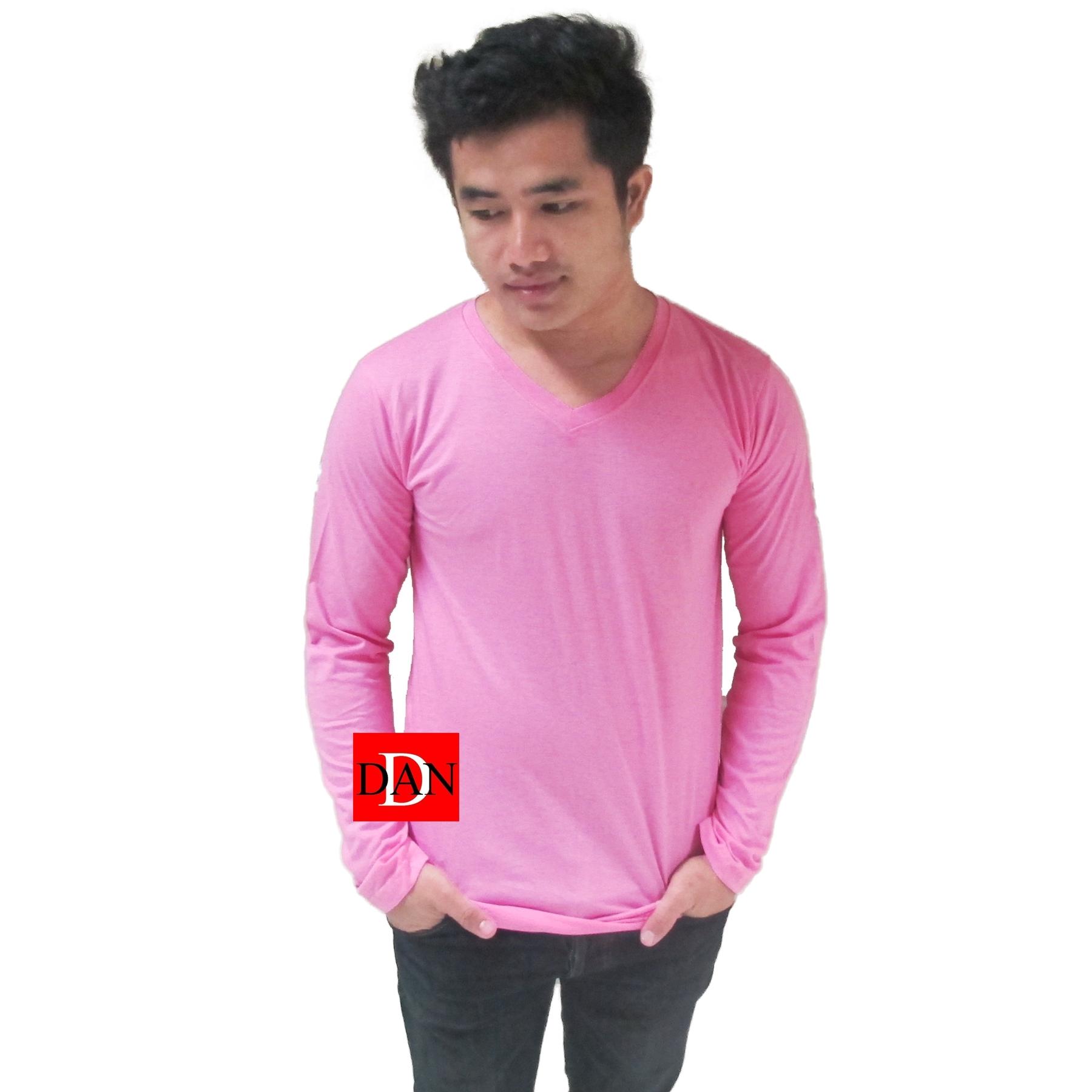 เสื้อแขนยาว คอวี สีชมพู