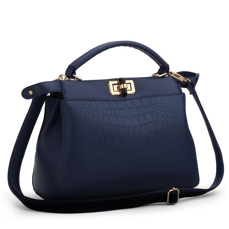 พร้อมส่ง กระเป๋าผู้หญิงถือและสะพายข้าง แต่งลูกบิดล็อคแฟชั่นเกาหลี Sunny-680 สีน้ำเงิน