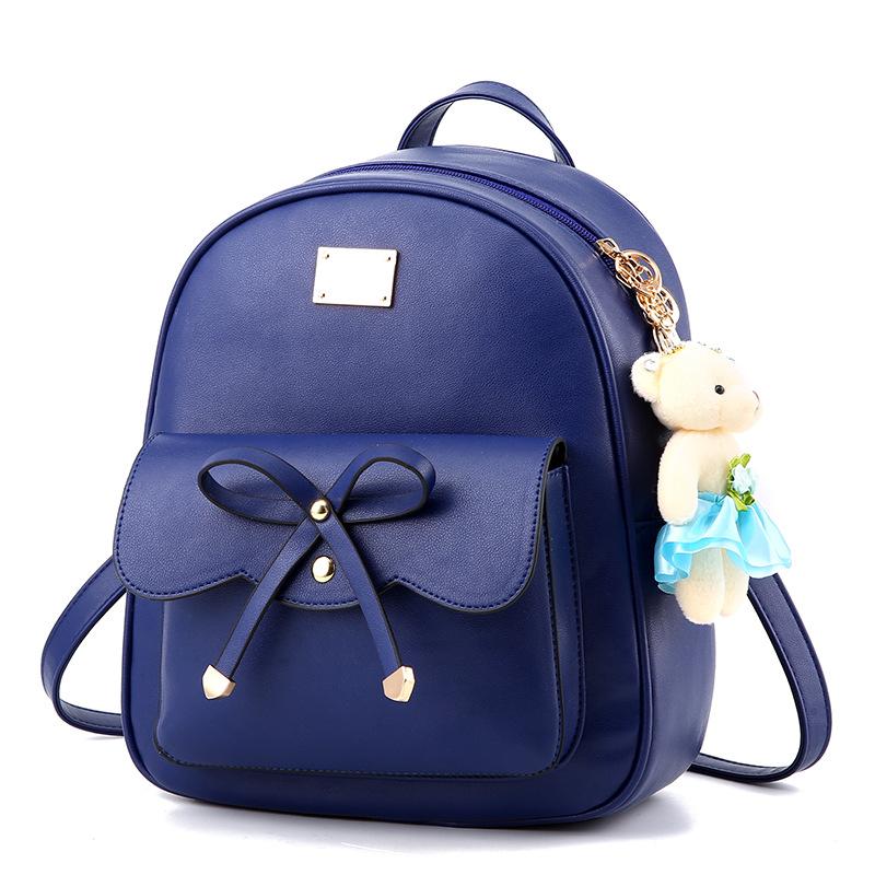 พร้อมส่ง กระเป๋าเป้สะพายหลังผู้หญิง ผูกโบว์ แฟชั่นเกาหลี รหัส Yi-369 สีน้ำเงิน *แถมตุ๊กตาหมี