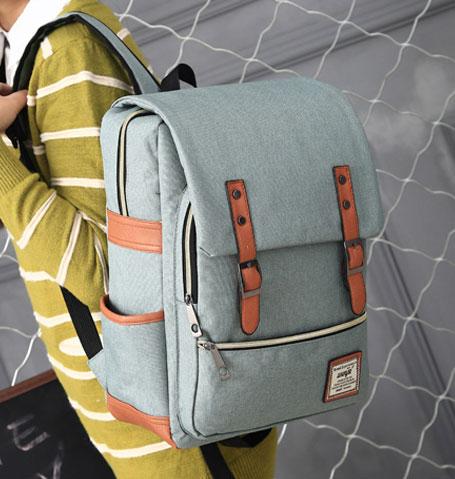 พร้อมส่ง กระเป๋าเป้ผ้า สะพายหลังนักเรียน วัยรุ่น นักศักษา เป้เดินทาง แฟชั่นเกาหลี รหัส G-635 สีเขียว