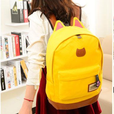 ขายส่ง กระเป๋าเป้ผ้าสะพายหลัง เป้นักเรียน School bag แต่งหูแมว แฟชั่นเกาหลี รหัส G-370 สีเหลือง