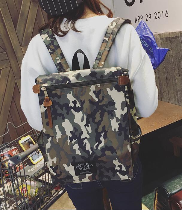 พร้อมส่ง กระเป๋าเป้ผ้า สะพายหลังใบใหญ่ สไตล์Anello-flap ติดโลโก้ LIVING TRAVELING SHARE แฟชั่นเกาหลี Fashion bag รหัส NA-436 สีทหารอำพราง