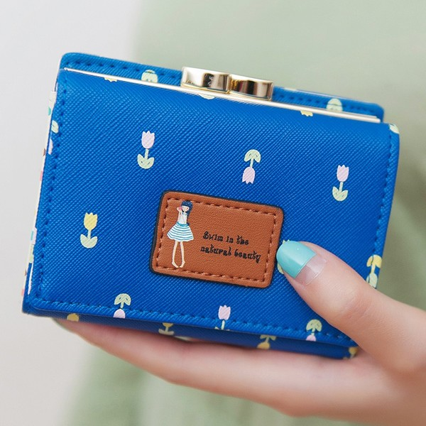 พร้อมส่ง กระเป๋าสตางค์ใบสั้นผู้หญิง กระเป๋าสตางค์นักเรียน แฟชั่นเกาหลี รหัส DA-883 สีน้ำเงิน