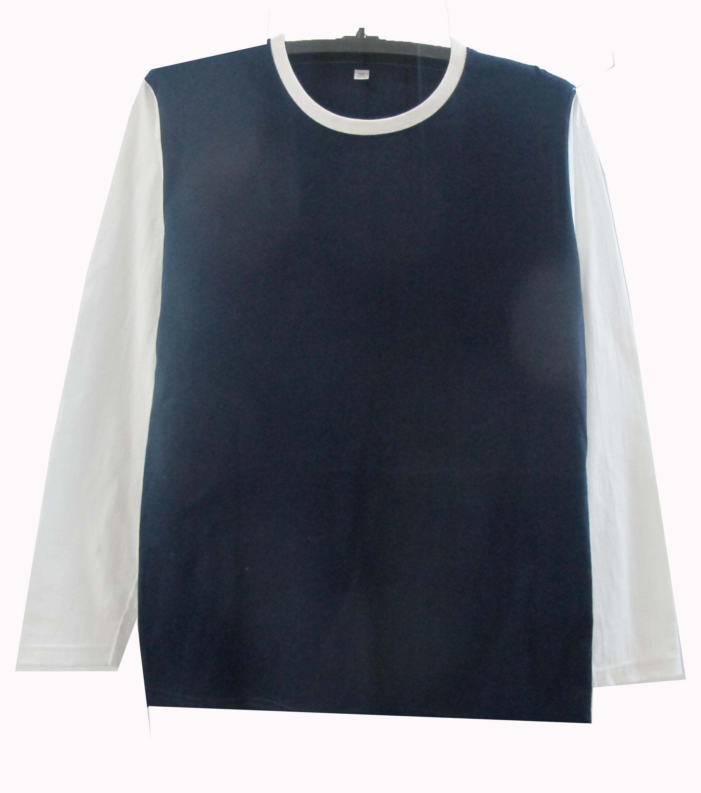 เสื้อแขนยาวตัดต่อตัวสีแขนขาว สีกรม