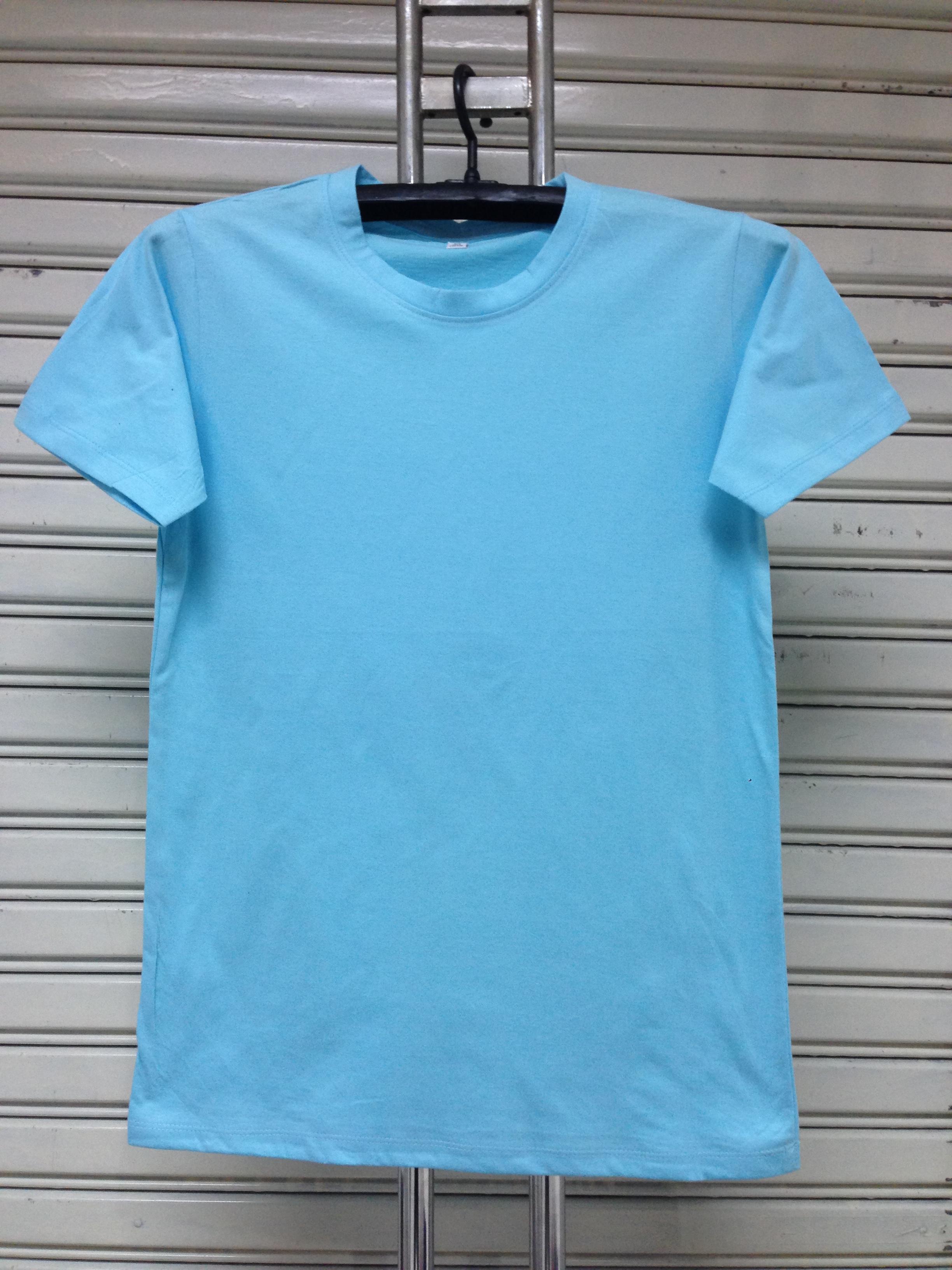 COTTON100% เบอร์32 เสื้อยืดแขนสั้น คอกลม สีฟ้า