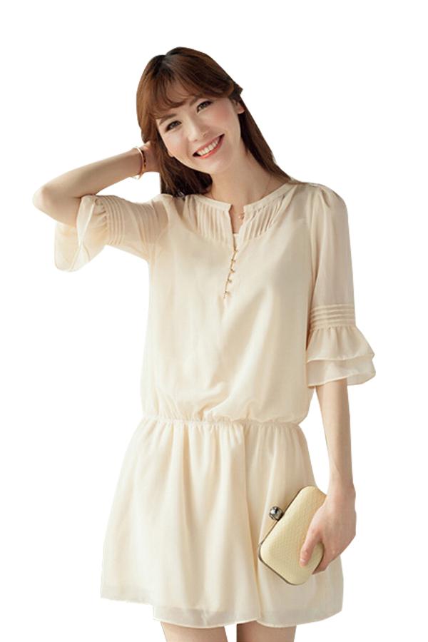 ชุดเดรสสีขาวใส่สบายผ้านิ่ม (สีครีม-ขาว)