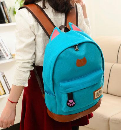 ขายส่ง กระเป๋าเป้ผ้าสะพายหลัง เป้นักเรียน School bag แต่งหูแมว แฟชั่นเกาหลี รหัส G-370 สีฟ้า