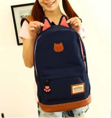 ขายส่ง กระเป๋าเป้ผ้าสะพายหลัง เป้นักเรียน School bag แต่งหูแมว แฟชั่นเกาหลี รหัส G-370 สีน้ำเงินเข้ม