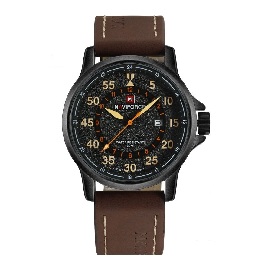นาฬิกา Naviforce รุ่น NF9076M Orange Brown นาฬิกาข้อมือสุภาพบุรุษ ของแท้ รับประกันศูนย์ 1 ปี ส่งพร้อมกล่อง และใบรับประกันศูนย์ ราคาถูกที่สุด