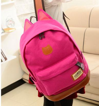 ขายส่ง กระเป๋าเป้ผ้าสะพายหลัง เป้นักเรียน School bag แต่งหูแมว แฟชั่นเกาหลี รหัส G-370 สีบานเย็น