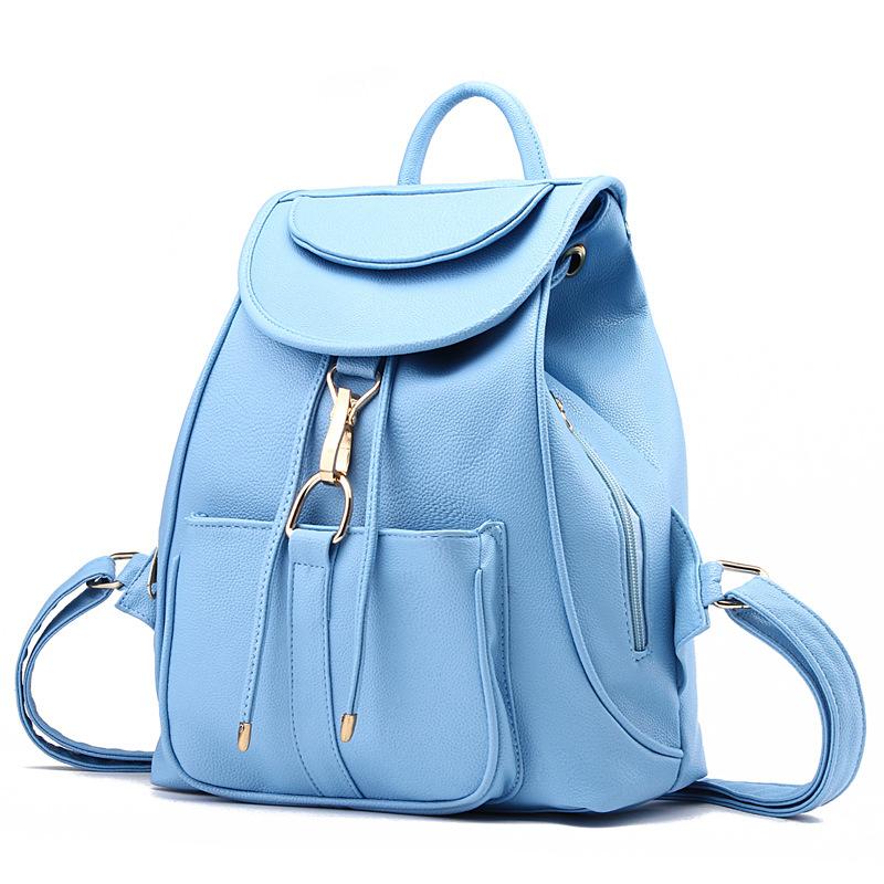 พร้อมส่ง กระเป๋าเป้สะพายหลัง เป้นักเรียน เป้สะพายเที่ยวผู้หญิงสายรูดปิดแฟชั่นเกาหลี รหัส Yi-8757 สีฟ้า