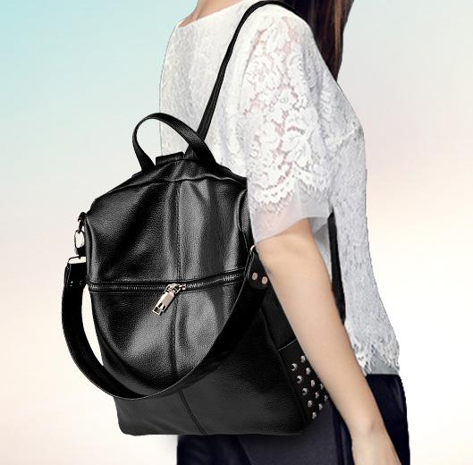 พร้อมส่ง กระเป๋าเป้สะพายหลัง เป้นักเรียน เป้เดินทาง ปรับสะพายไหล่ได้ แฟชั่นเกาหลี รหัส Yi-2026 สีดำ