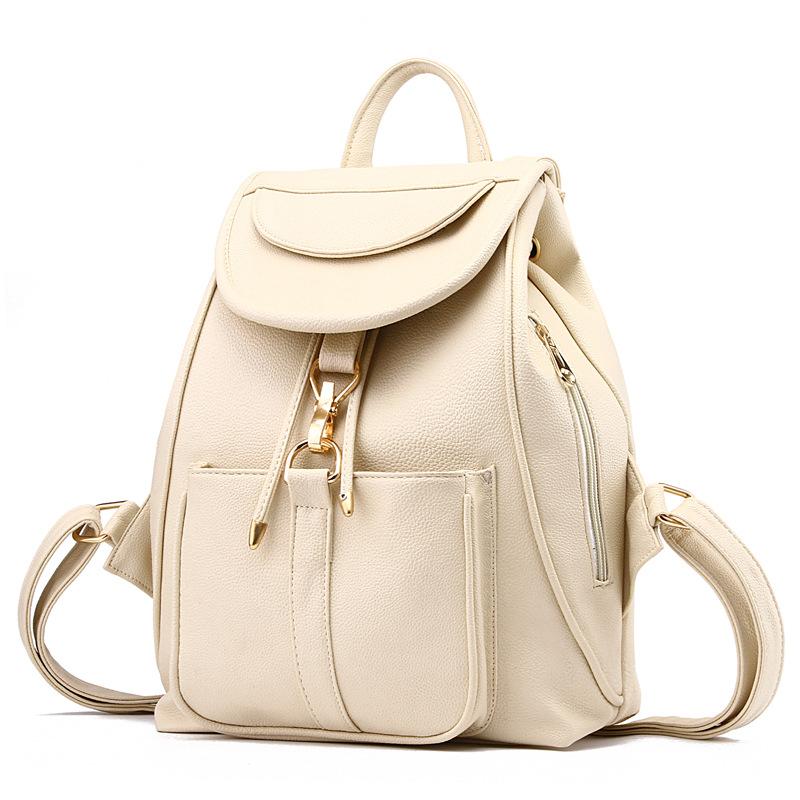 พร้อมส่ง กระเป๋าเป้สะพายหลัง เป้นักเรียน เป้สะพายเที่ยวผู้หญิงสายรูดปิดแฟชั่นเกาหลี รหัส Yi-8757 สีขาว