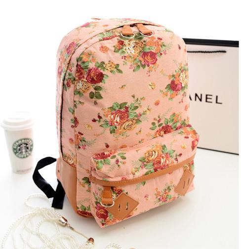 พร้อมส่ง กระเป๋าเป้ผ้า สะพายหลัง ลายดอกไม้ เป้เดินทาง เป้นักเรียนผู้หญิงแฟชั่นเกาหลี Fashion bag รหัส G-175 สีชมพู