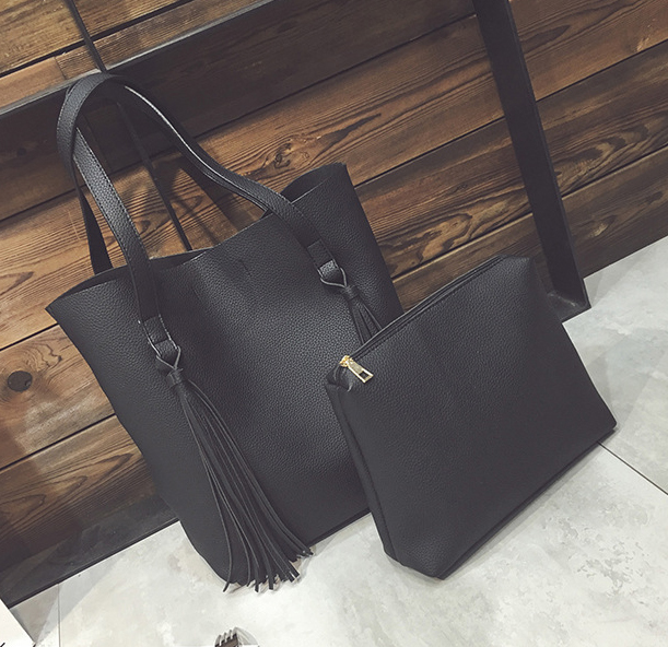 พร้อมส่ง กระเป๋าผู้หญิง กระเป๋าสะพายไหล่ใบใหญ่ เช็ต 2 ใบ แฟชั่นเกาหลี TIANCAI รหัส B-136 สีดำ
