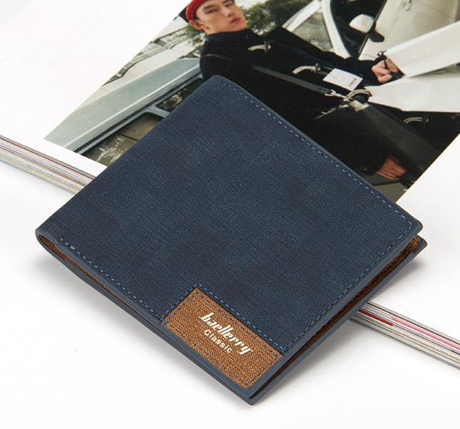 ขายส่ง กระเป๋าสตางค์หนัง นักศึกษาผู้ชาย กระเป๋าเงินแฟชั่นเกาหลี ยี่ห้อ baellerry รหัส BA-13855-1 สีน้ำเงิน ใบสั้น ทรงนอน *ไม่มีกล่อง