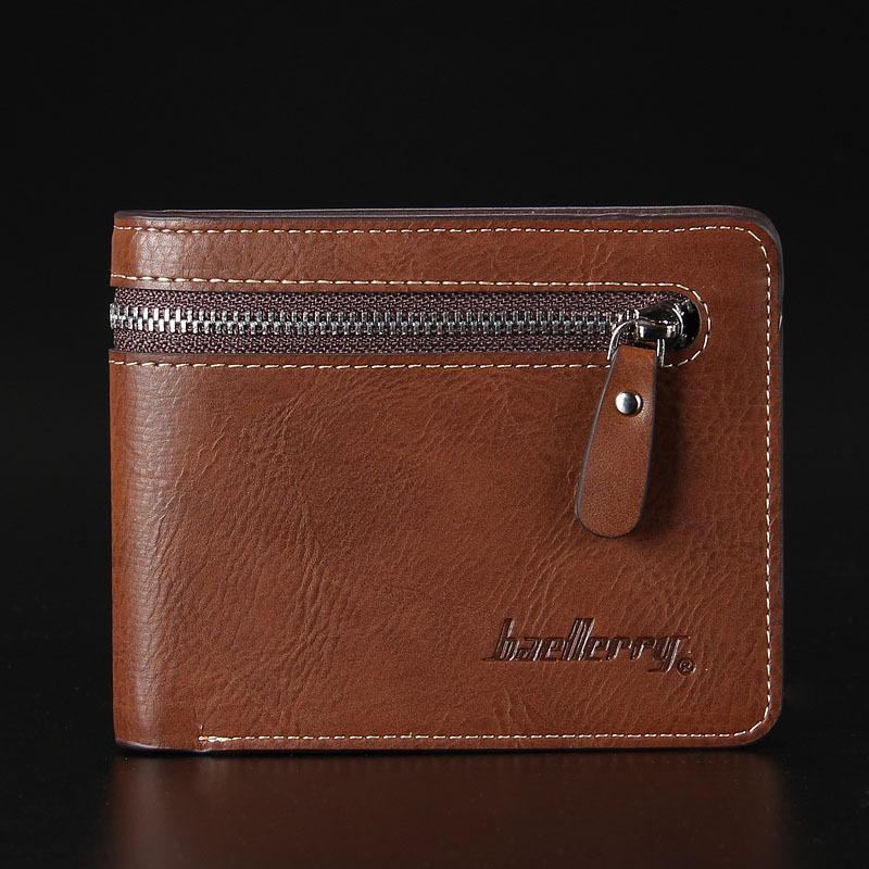 พร้อมส่ง กระเป๋าสตางค์ใบสั้นผู้ชาย นักธุรกิจ แต่งซิป แฟชั่นเกาหลี ยี่ห้อ baellerry รหัส BA-128-1 สีน้ำตาลอ่อน ทรงนอน *ไม่มีกล่อง