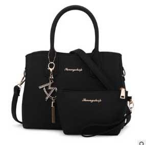 พร้อมส่ง ขายส่ง กระเป๋าถือและสะพายข้าง เรียบหรูคุณนาย เซ็ต 2 ใบ สไตล์เกาหลี แฟชั่นเกาหลี Sunny-866 สีดำ 1 เช็ต