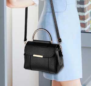 พร้อมส่ง กระเป๋าถือหรือกระเป๋าสะพายข้าง เรียบง่ายน่ารักๆ แฟชั่นเกาหลี รหัส KO-369 สีดำ