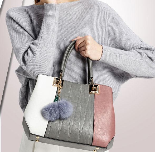 พร้อมส่ง กระเป๋าสะพายไหล่และกระเป๋าสะพายข้าง มีพู่ห้อยน่ารักๆ แฟชั่นเกาหลี Sunny-880 สีเทา