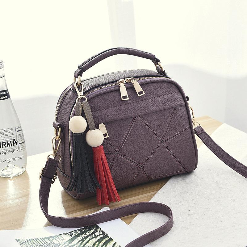 ขายส่ง กระเป๋าถือและสะพายข้าง ผู้หญิง แฟชั่นสไตล์เกาหลี รหัส KO-4556 สีม่วงเข้ม *แถมพู่ห้อย
