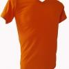 COTTON100% เบอร์32 เสื้อยืดแขนสั้น คอวี สีส้ม