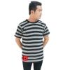 Striped Short Sleeves Tee gray/black