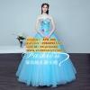 ชุดแต่งงาน [ ชุดพรีเวดดิ้ง Premium ] APD-006 เกาะอก สีฟ้า (Pre-Order)