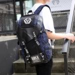 พร้อมส่ง กระเป๋าเป้สะพายหลัง เดินทาง ใส่คอมพิวเตอร์ เป้นักเรียนผู้ชายแฟชั่นเกาหลี รหัส Man-1001-6 สีดำ-สีน้ำเงินพิมพ์ ตามรูป