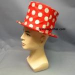 หมวกพับ สีแดง จุดขาว
