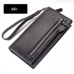 พร้อมส่ง กระเป๋าสตางค์+คลัทซ์นักธุรกิจผู้ชาย ใบยาว แต่งซิป ใส่โทรศัพท์ iphone แฟชั่นเกาหลี ยี่ห้อ baellerry รหัส BA-S1507 สีดำ 2 ใบ *ไม่มีกล่อง
