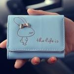 พร้อมส่ง กระเป๋าสตางค์ผู้หญิงใบสั้น กระเป๋าสตางค์นักเรียนแฟชั่นเกาหลี ลายกระต่างผูกโบว์รหัส G-669 สีฟ้า
