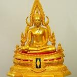 พระพุทธชินราช มวลสารผสมเหล็กน้ำพี้ สีทอง 9นิ้ว