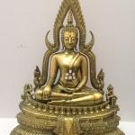 พระพุทธชินราช มวลสารผสมเหล็กน้ำพี้ สีเขียวราชาวดี 9นิ้ว