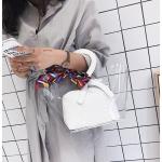 พร้อมส่ง ขายส่ง กระเป๋าถือพลาสติกโปร่งใส ผูกผ้าพันคอแฟชั่นเกาหลี รหัส A-9915 สีขาว 1 ใบ