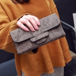 พร้อมส่ง กระเป๋าสตางค์ใบยาว คลัทซ์ผู้หญิง ใบเล็กข้างในแยกได้ แฟชั่นเกาหลี รหัส G-761 สีเทา