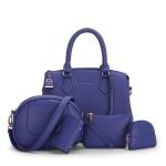 พร้อมส่ง กระเป๋าถือและสะพายข้าง เช็ต 5 ใบ กระเป๋าหรูคุณนายแฟชั่นเกาหลี Sunny-721 สีน้ำเงินเข้ม 1 เช็ต